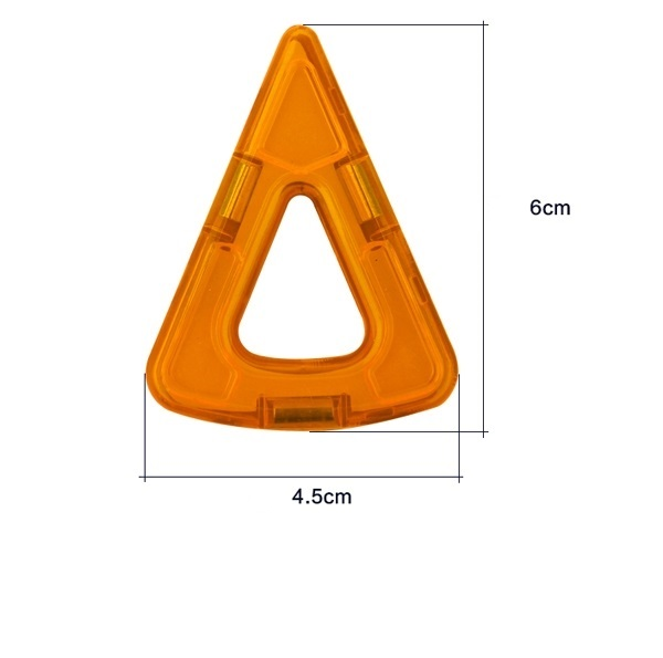 magnetisch bouwblok los onderdeel smalle driehoek met ronding