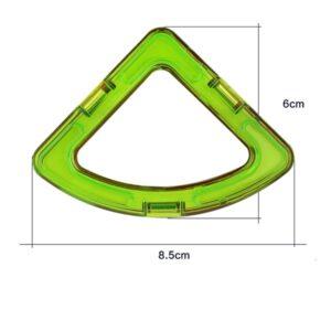magnetisch bouwblok los onderdeel brede driehoek met ronde onderkant