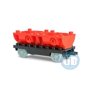 Trein wagon onderstel met rode containers